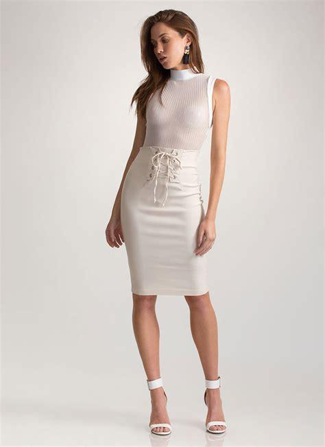 due corset high waisted lace up skirt mauve bone black