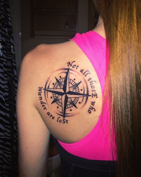 compass tattoo not all those who wander are lost