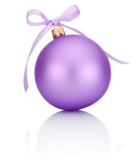 purple christmas ball with ribbon bow isolated on white