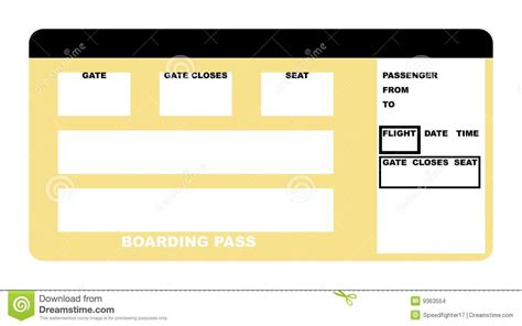 Blank Airline Boarding Pass Ticket Stock Photos Images Airline Ticket Invitation Template