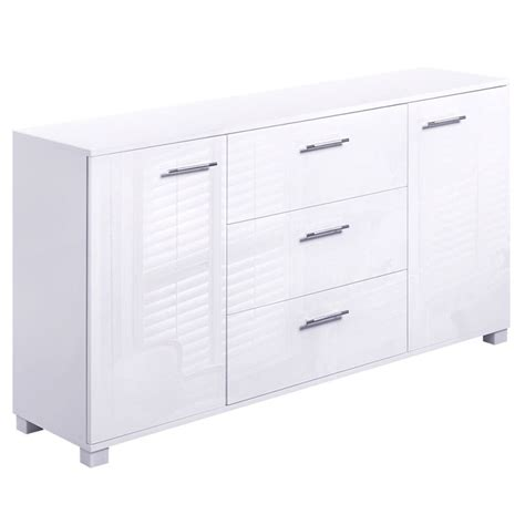 High Gloss Sideboard Buffet w/ 3 Drawers in White   Buy