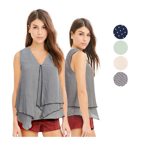 Blouse Blus Atasan Pakaian Wanita Casual Grid S 329953 new branded blouse sleeveless 4 color baju
