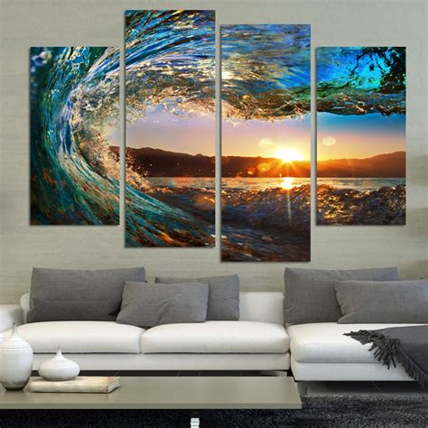 ocean home decor 4 panel modern seascape painting canvas art hdsea wave