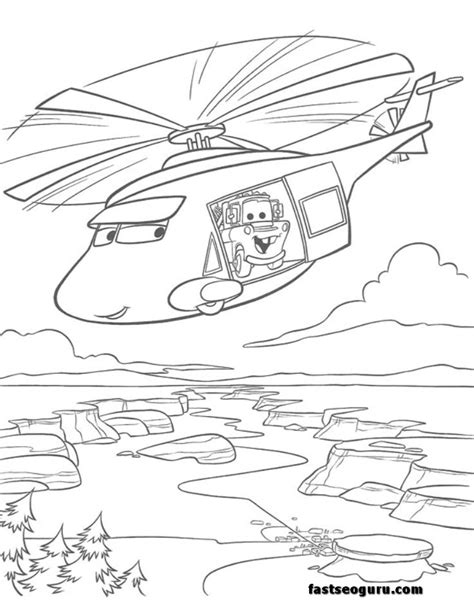 news helicopters tow mater coloring page for kids