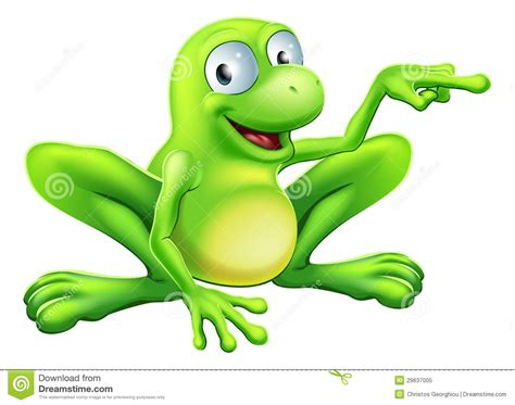 White Bathroom Trash Can Frog Pointing Illustration Royalty Free Stock Photo