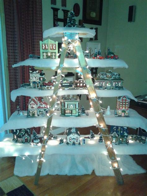 christmas village ladder display my new ladder to display my pintrest projects completed