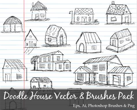 doodle house scribble series doodle house vector and photoshop brushes