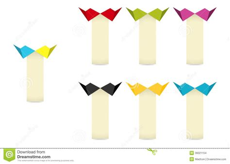 Origami Style - the label set with origami style bow stock images image