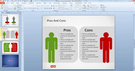 pro con list template free pros cons powerpoint template free powerpoint