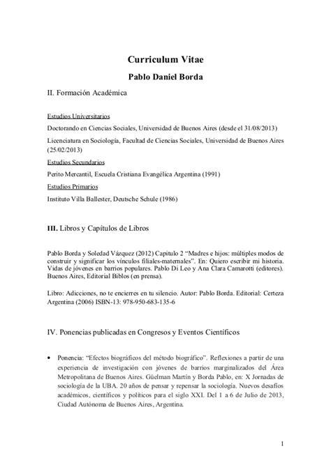 Modelo Curriculum Hospital Cv Pablo Borda 2013
