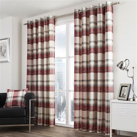 red check curtains ready made check eyelet lined curtains red stripe tony