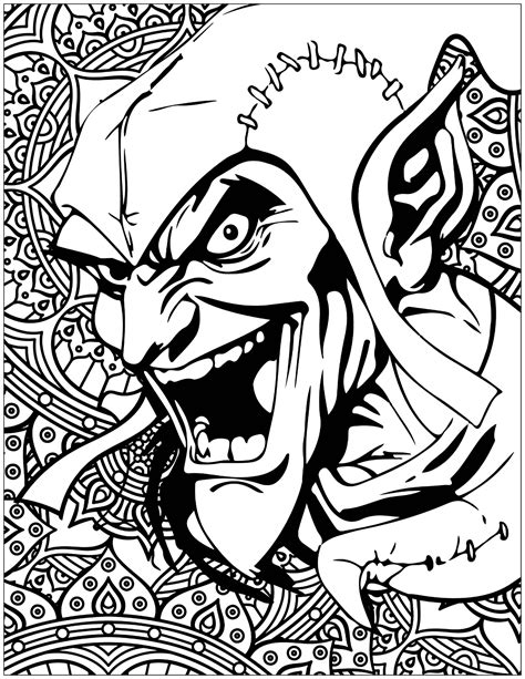printable heroes goblins marvel villains green goblin books and comics coloring