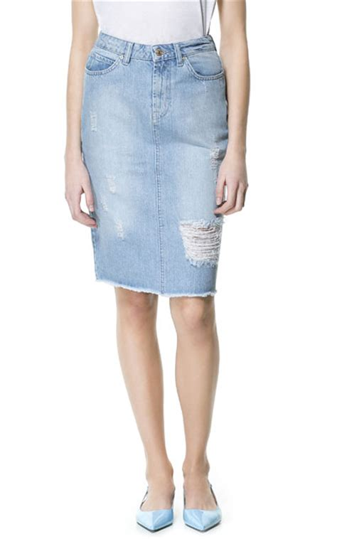 ripped denim pencil skirt midi skirts zara