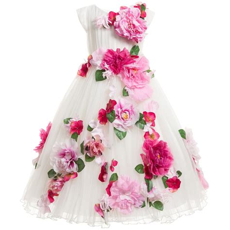 Dress Flower lesy luxury flower luxury white tulle dress with pink