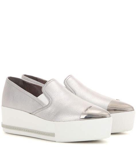 10 Coolest Miu Miu Shoes by Miu Miu Leather Platform Slip On Sneakers Metallic Silver