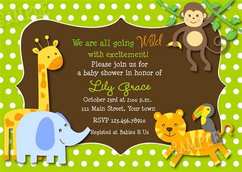 Safari Jungle Animals Baby Shower Invitations