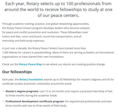 Mba In Brand Management In Usa by Rotary Peace International Graduate Scholarships In Usa
