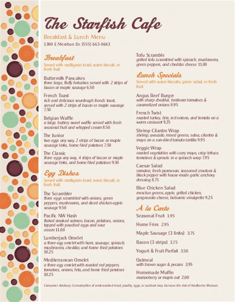 brunch menu breakfast menus