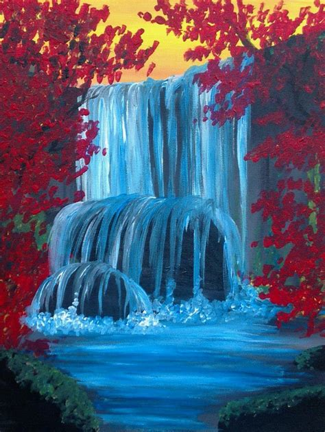 acrylic painting waterfalls waterfall in autumn oct 9th sign up at www corksandcanvas