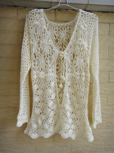 Handmade Eggshell Tosca Cotton Blouse ivory open cardigan sweater handmade crochet blouse