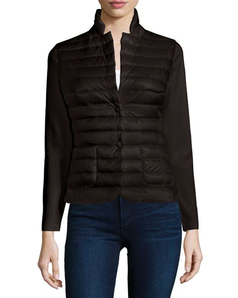 black knit blazer moncler knit blazer with puffer front in black lyst