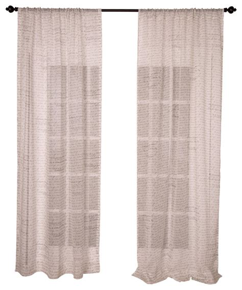 Linen Sheer Curtains Text Print Ecru Sheer Linen Curtain Panel Contemporary Curtains By Indias Heritage