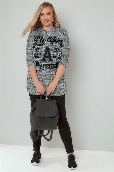 Hoodie Vli Black Logo sweatshirt 224 capuche gris mailles fines quot new york varsity
