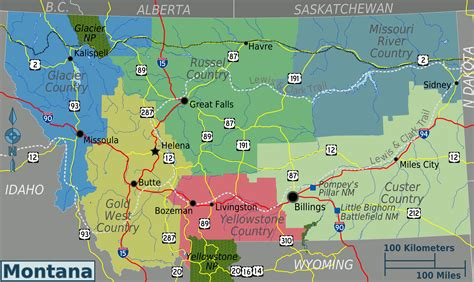 montana in usa map map of montana overview map regions worldofmaps net