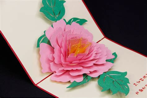 Beautiful Pop Up Birthday Card Template by 3d Paper Cut Beautiful Peony Greeting Cards Laser Cut Pop