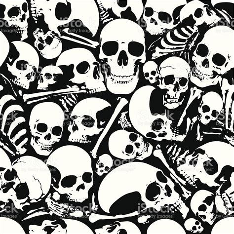 Skull Collage Design Outline by Seamless Skull Wallpaper Background Stock Vector More Images Of Backgrounds 165673932 Istock