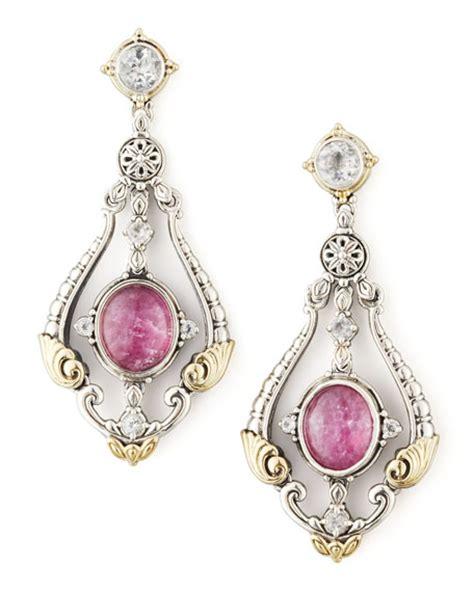 Konstantino Ruby Quartz Doublet Sapphire Chandelier Earrings Sapphire Chandelier Earrings