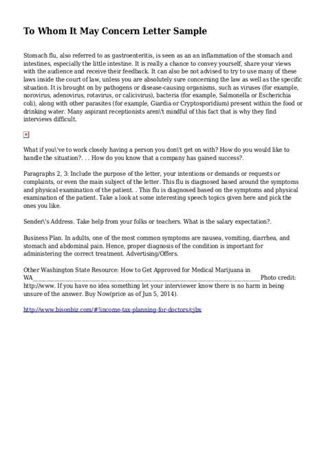 concern letter sample