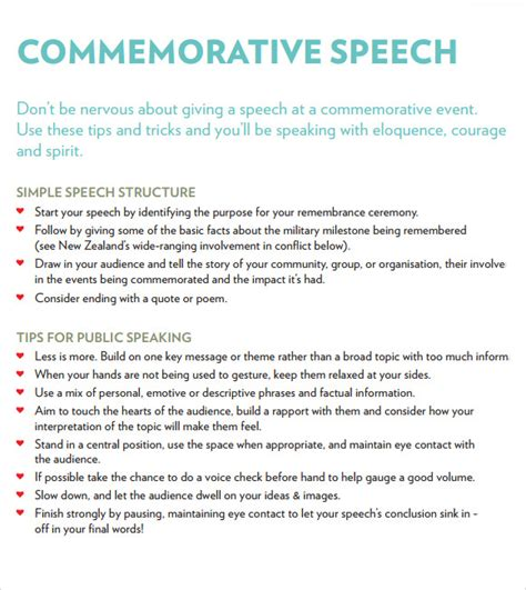Commemorative Speech Outline Sle sle commemorative speech exles 6 documents in pdf