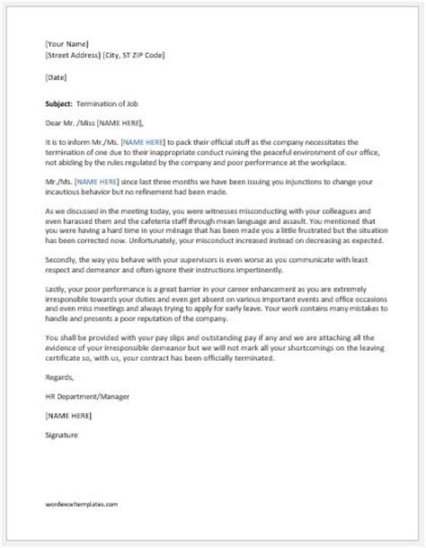 termination letter fighting workplace word
