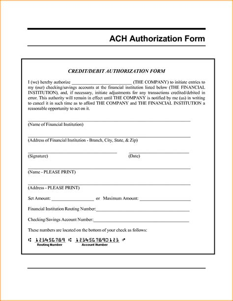 8 ach authorization form template authorization letter