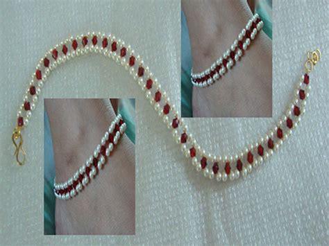 Handmade Payal - shop designer handmade choker pearl anklet payal pair