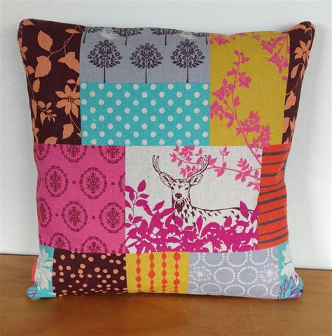 Patchwork Cover - kokka echino cushion cover forest patchwork pink felt