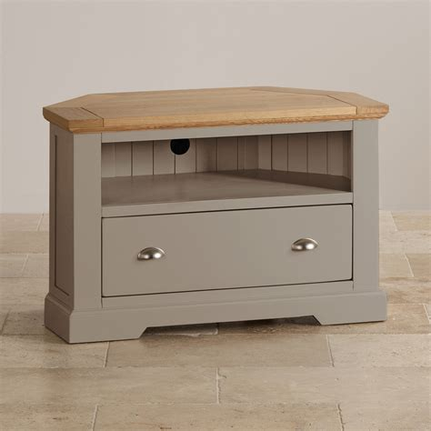 wooden corner tv cabinet st ives corner tv cabinet in grey painted acacia with oak top