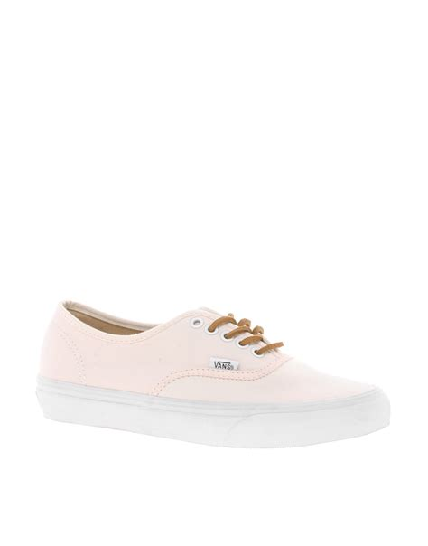 light pink low top vans vans authentic slim light pink trainers in pink lyst