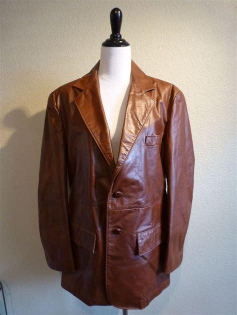 leather sport coat vintage genuine leather blazer sport coat jacket mens 44r brown ralph edwards ralphedwards