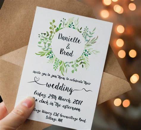 Green Wedding Invitations by Printable Green Wedding Invitation Printable Greenery