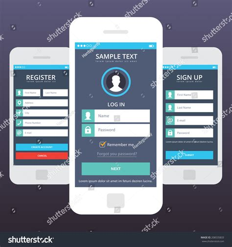 mobile sign in wireframe mobile app ui kit mobile stock vector 208535833