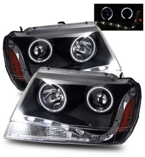 2000 Jeep Grand Headlights 2000 Jeep Grand Projector Headlights Black Led