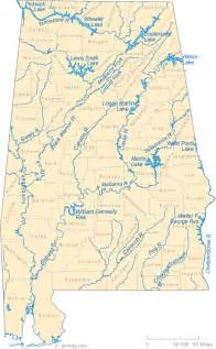 map of rivers and lakes map of alabama lakes streams and rivers
