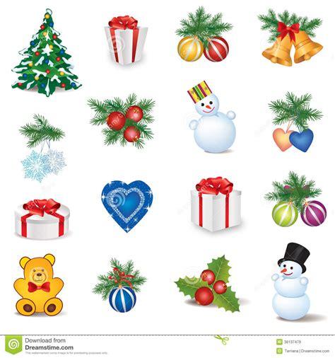 new year decorations symbols icon set winter new year decor