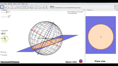 plane section of a sphere how intersect a plane and a sphere true 3d with