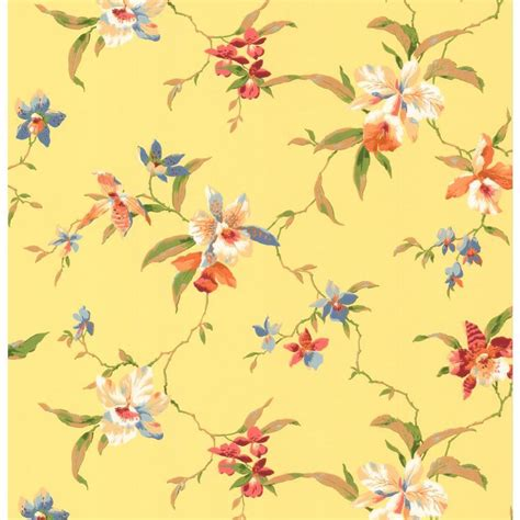 yellow flower wallpaper for walls york wallcoverings orchid wallpaper cj2874 the home depot