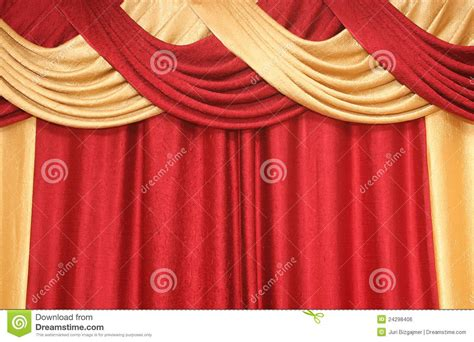 yellow and red curtains curtain of red and yellow colour royalty free stock image