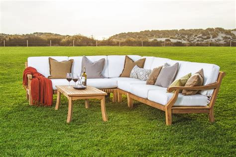 outdoor teak sectional 5 pc sectional sofa set teakwood teak wood garden indoor