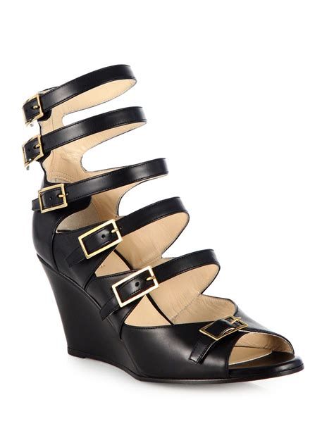 Leather Wedges 1 chlo 233 strappy leather wedge sandals in black lyst